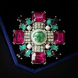 art deco style colorful crystal star brooch pin for women