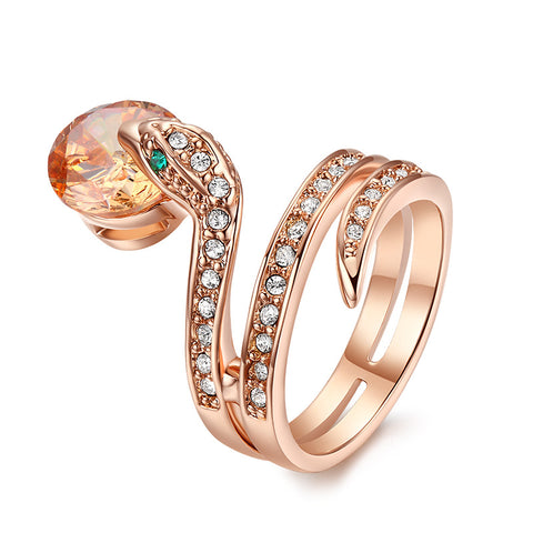 trendy austrian crystal snake shape ring for women