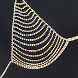 sexy hollow bra rhinestone chain body necklace