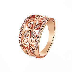 gold color hollow leaves crystal ring for women