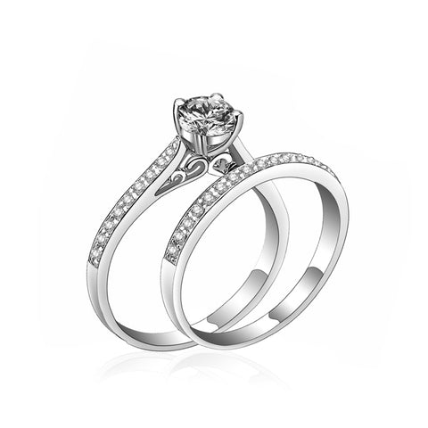 luxury silver color crystal rings for couple