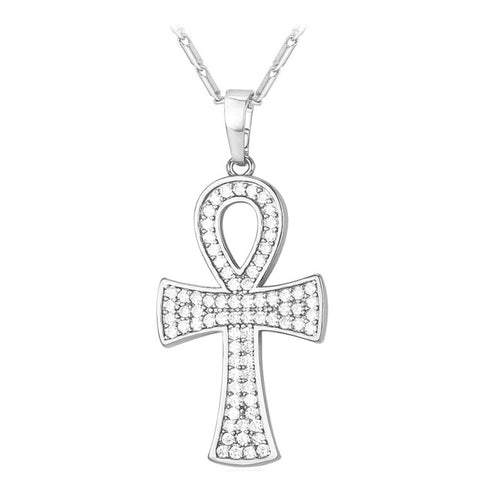 stainless steel key to life egypt cross pendant & necklace