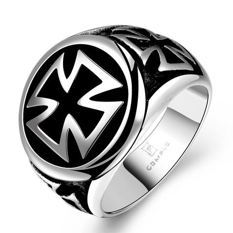 stainless steel black titanium cross ring for men