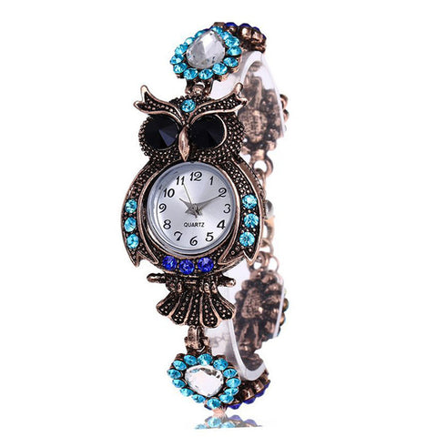 cute rhinestone owl shape quartz wrist watch for women