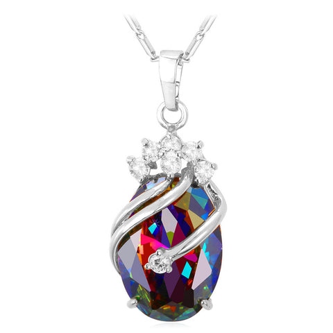 crystal cubic zircon gold color pendant necklace for women
