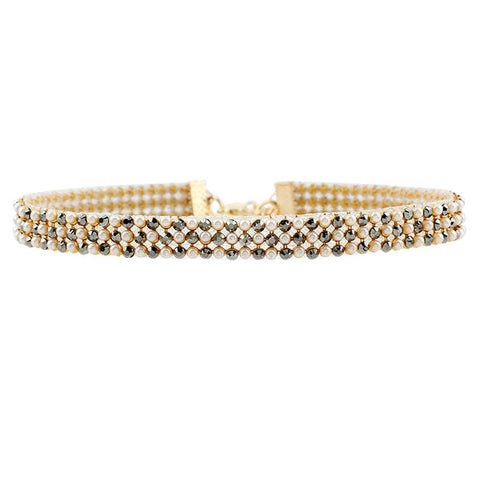 gold color crystal choker necklace for women