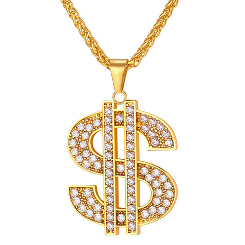 hip hop style stainless steel dollar crystal pendant chain necklace