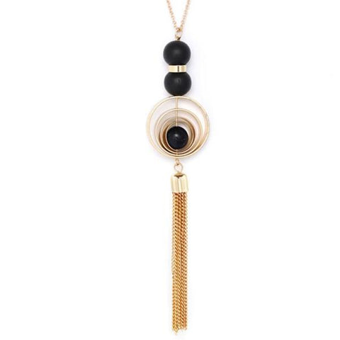 trendy wood combination tassel pendant necklace for women