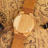 cool flower skull bamboo wood leather band watch for women