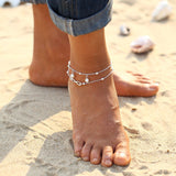 antique silver color big blue stone anklet for women