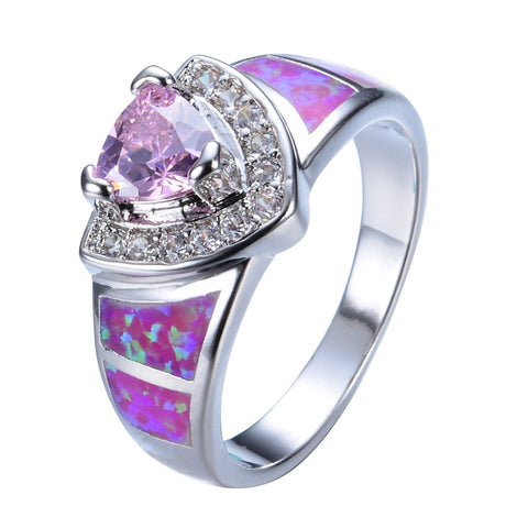 romantic pink fire opal stone white zircon ring for women
