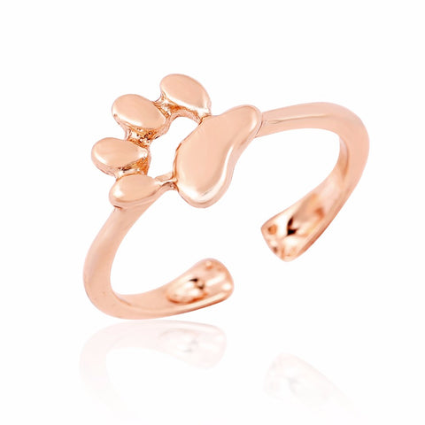 cat paw print open ring for women