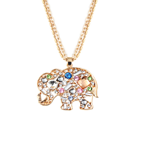 colorful crystal elephant pendant statement necklace for women