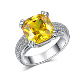 Gold Color big yellow stone Ring For Women