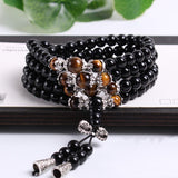 black color tiger eye crystal beads buddhist mala bracelet