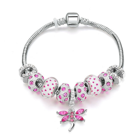crystal murano beads pink butterfly charm bracelet for women