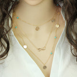 multi layer leaf chain necklace for women