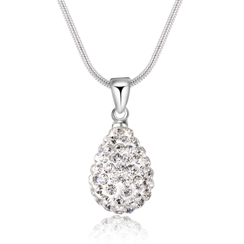 silver plated crystal drop pendant necklace for women