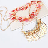 golden color rhinestone tassel choker long chain necklace