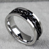 cool stainless steel rotatable chain ring for men