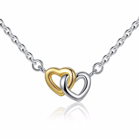 925 sterling silver united hearts pendant chain necklace