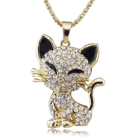 cute cat filled enamel crystal pendant necklace for women