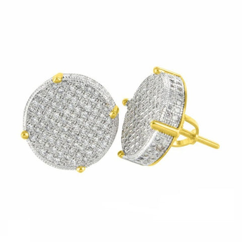 hip hop style round micro pave cubic zirconia earrings