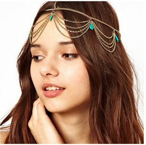 boho hair wear green crystal head band for women