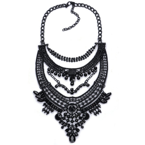 exaggeration statement crystal choker necklace & pendant