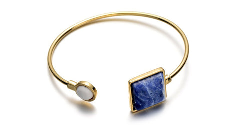 gold color stone adjustable cuff bracelet & bangle