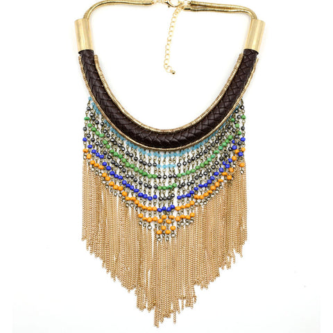 ethnic beads chain tassel statement necklace for women