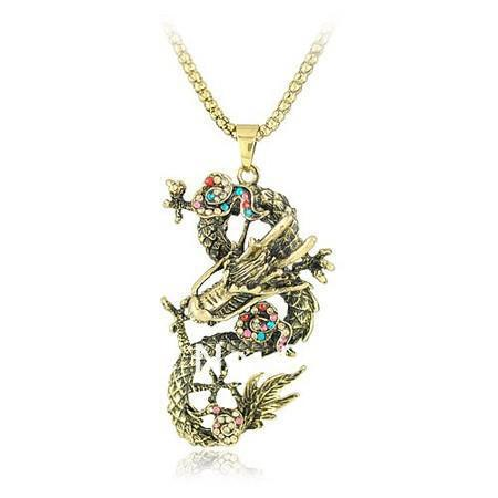 chinese style crystal dragon pendant long sweater necklace
