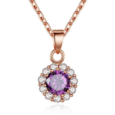 gold color purple stone zircon crystal necklace for women