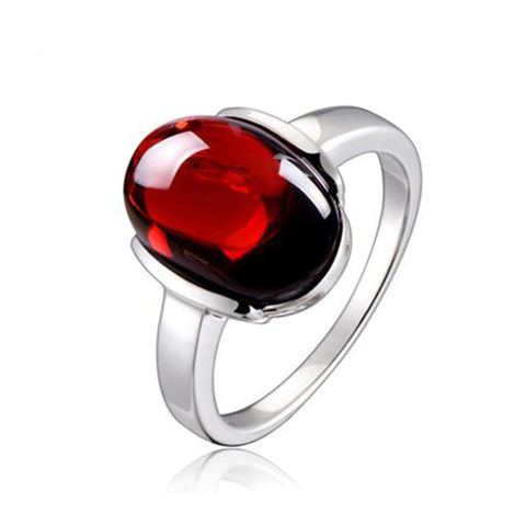luxury red stone sterling silver ring for women