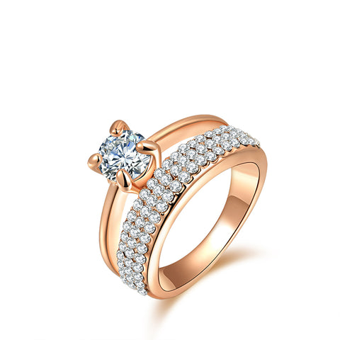 classic rose gold color pave austrian crystal ring for women