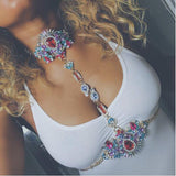 multicolor crystal body statement chain necklace