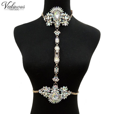 multicolor crystal body statement chain necklace - very-popular-jewelry.com