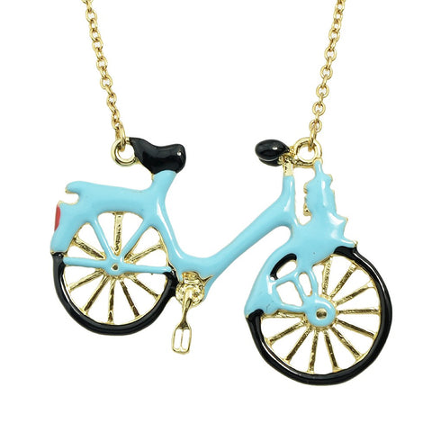 blue enamel bicycle pendant gold color long chain necklace