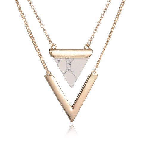 faux stone 2 layer V shape triangle pendant chain necklace