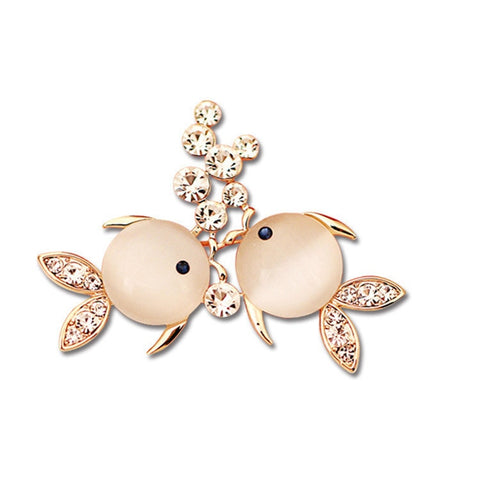 cute double fish with crystal brooch pin for women