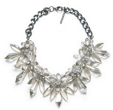 luxury transparent crystal flower statement necklace for women