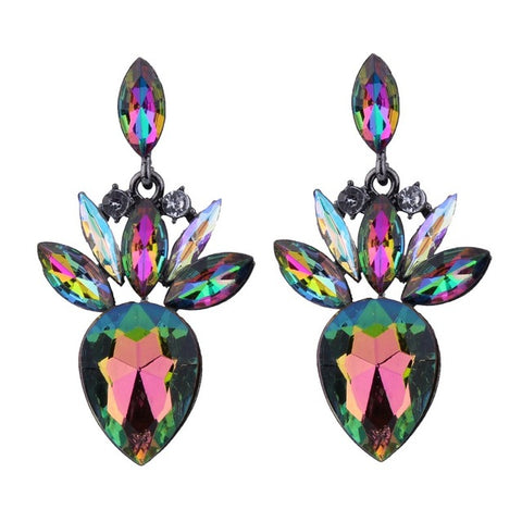 luxury multicolored glass dangle drop earrings for women