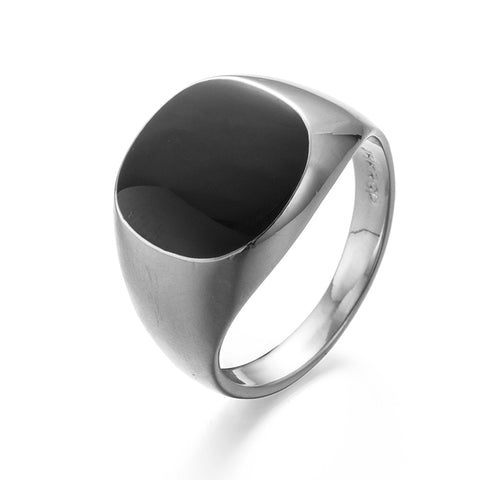 silver color big black onyx stone ring for men