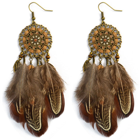 bohemian brown feather & flower tassel drop earrings for women
