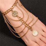 antique multilayer gold coin tassel anklet for women
