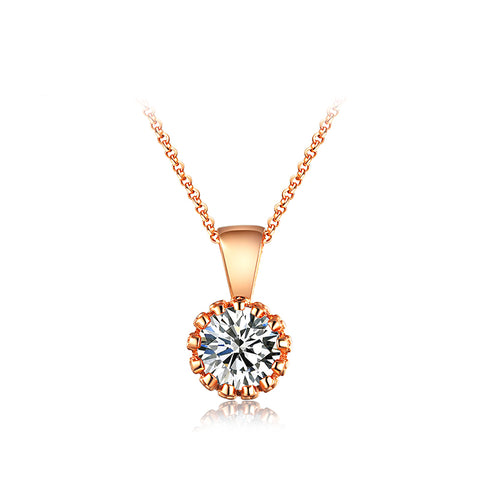 crystal zirconia pendant rose gold color long necklace
