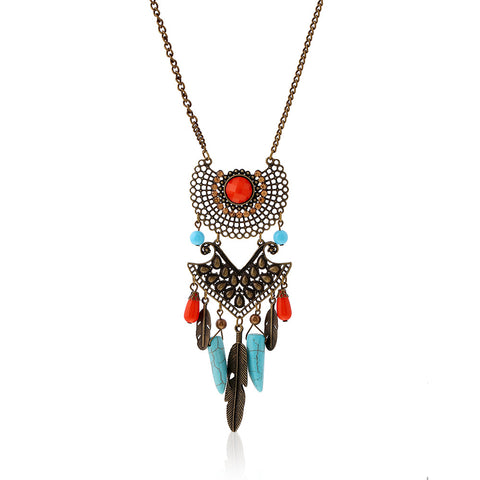 bohemian hollow carving leaves tassel long statement necklace