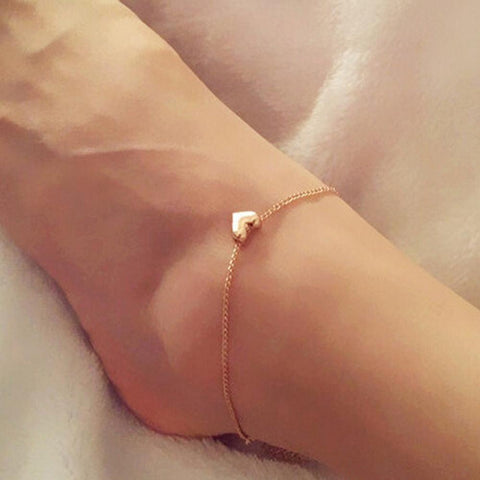 simple design heart shape chain anklet for women