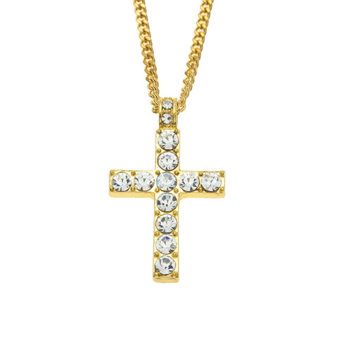 gold/silver color iced out crystal cross pendant necklace