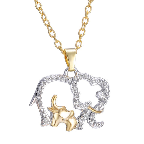 rhinestone elephant & baby pendant gold color necklace